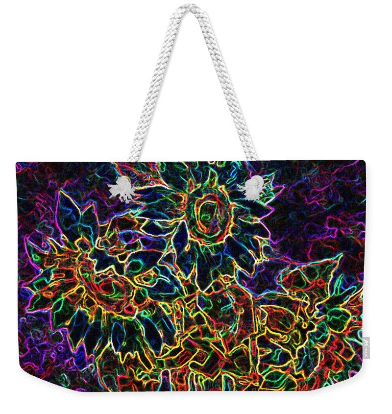 Sunflowers Weekender Tote Bag featuring the digital art Glowing Sunflowers by Iliyan Bozhanov