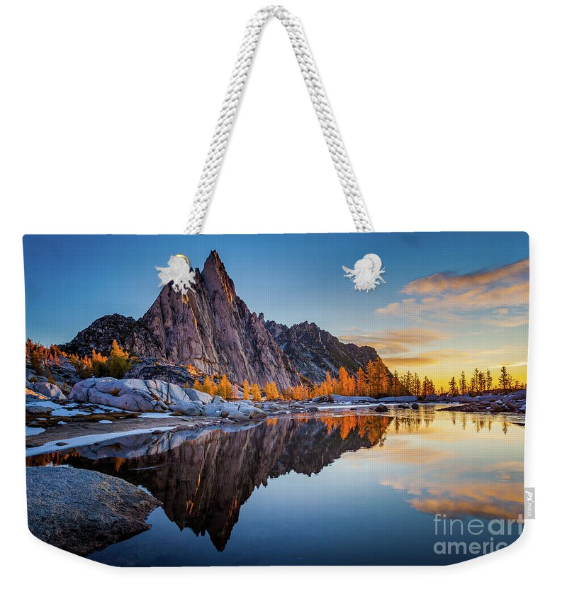 Alpine Lakes Wilderness Weekender Tote Bag featuring the photograph Gnome Tarn Clouds by Inge Johnsson