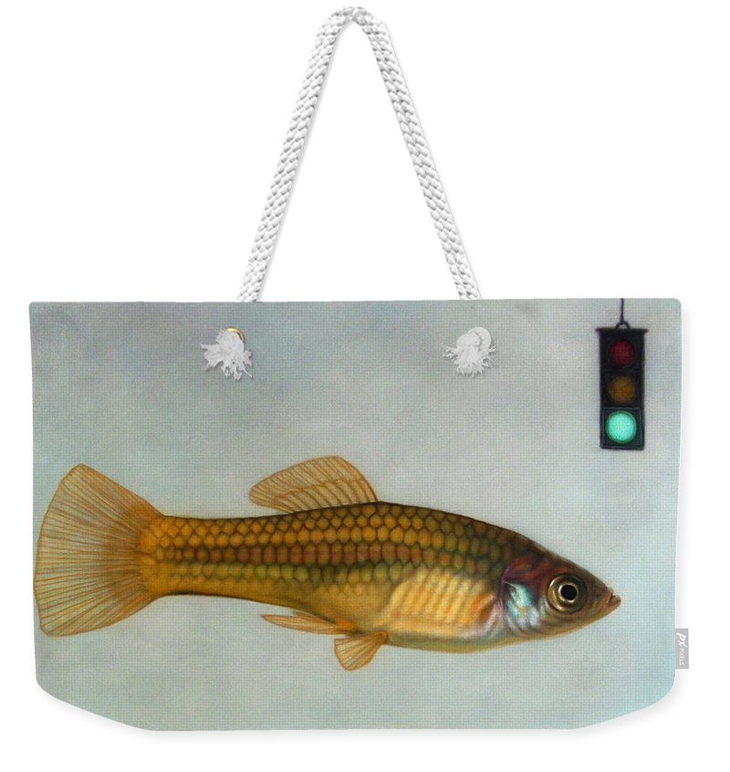 Fish Weekender Tote Bag featuring the painting Go Fish by James W Johnson