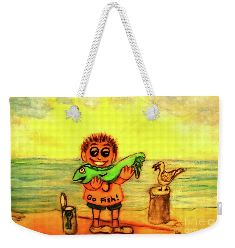 Little Boy Weekender Tote Bag featuring the painting Go Fish by Hazel Holland