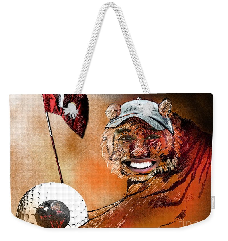 Golf Art Weekender Tote Bag featuring the painting Go For It by Miki De Goodaboom