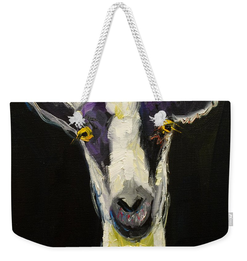 Goat Weekender Tote Bag featuring the painting Goat Gloat by Diane Whitehead