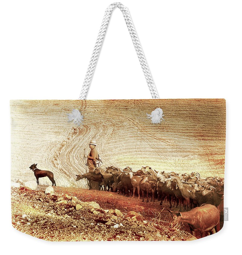 Goats Weekender Tote Bag featuring the photograph Goatherd by Mal Bray