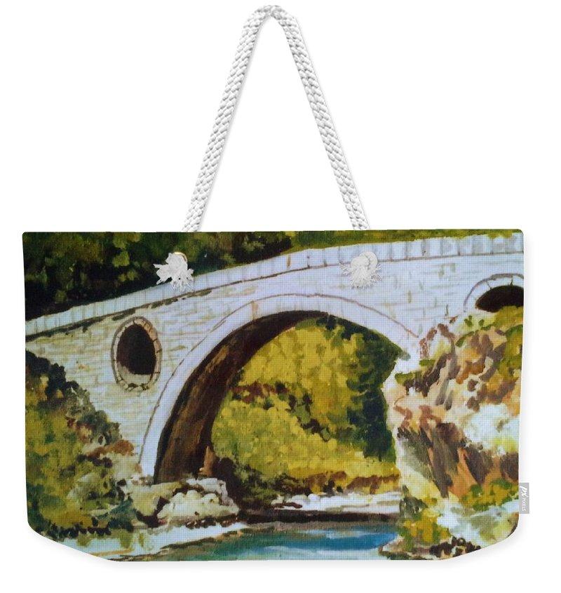 Goat's Bridge Weekender Tote Bag featuring the painting Goat's Bridge by Sinisa Saratlic