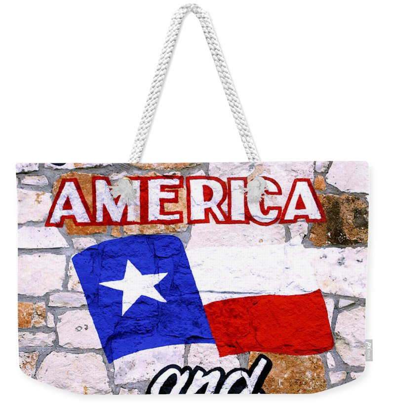 Americana Weekender Tote Bag featuring the photograph God Bless America And Texas 2 by Marilyn Hunt