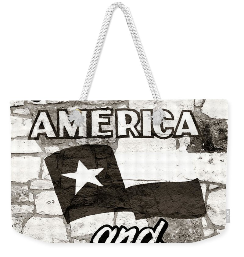 Americana Weekender Tote Bag featuring the photograph God Bless America And Texas by Marilyn Hunt