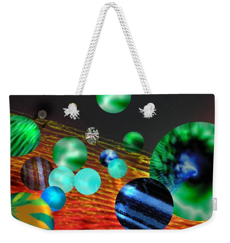 A Tribute To Donovan And His Song cosmic Wheels. A Line In The Song...god Is Playing Marbles With Weekender Tote Bag featuring the digital art God Playing Marbles Tribute To Donovan by Seth Weaver
