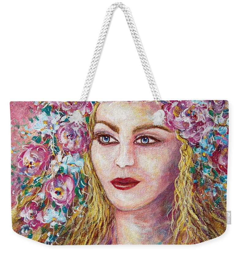 Face Weekender Tote Bag featuring the painting Goddess of Good Fortune by Natalie Holland