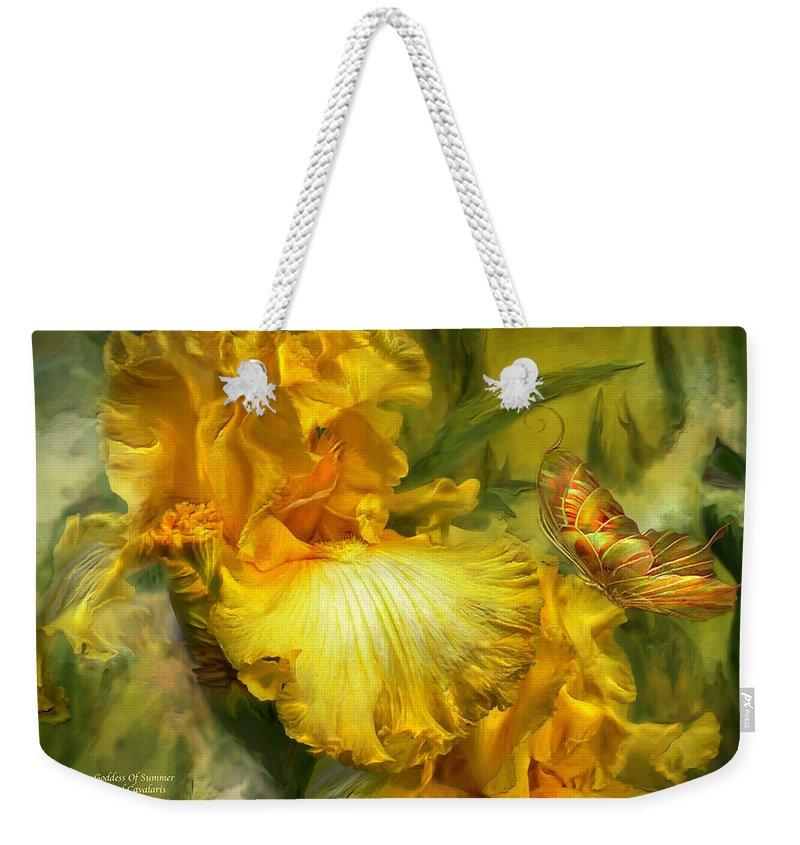 Iris Weekender Tote Bag featuring the mixed media Goddess Of Summer by Carol Cavalaris