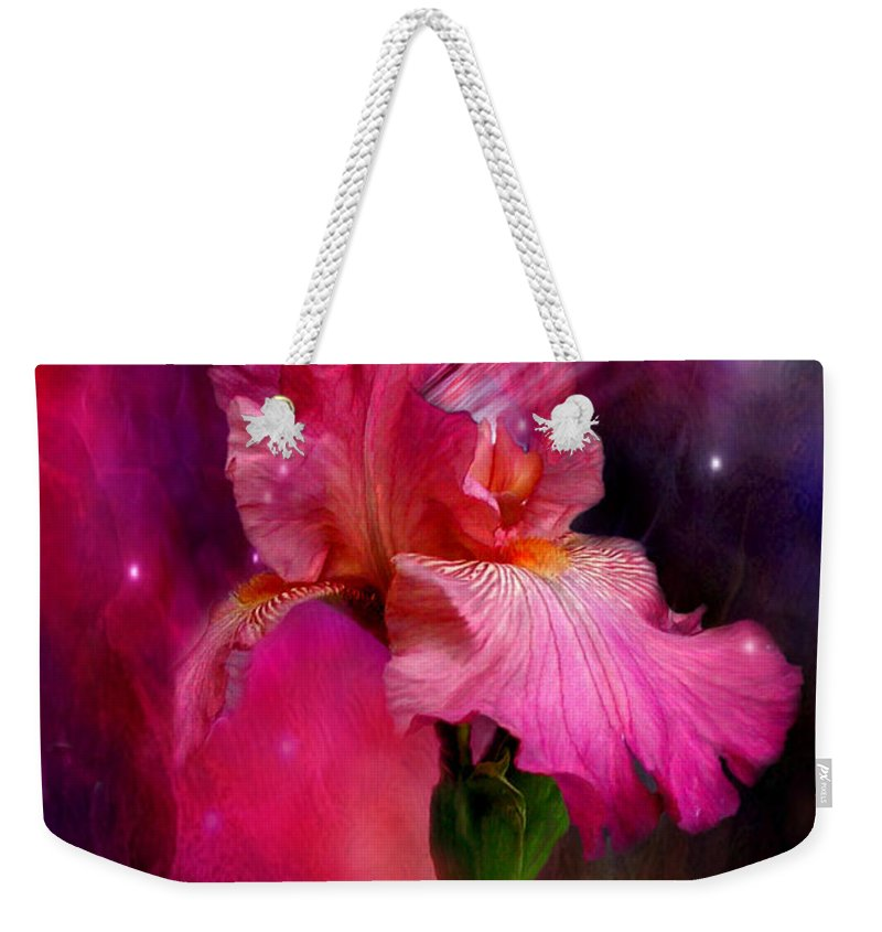 Iris Weekender Tote Bag featuring the mixed media Goddess Of The Divine by Carol Cavalaris
