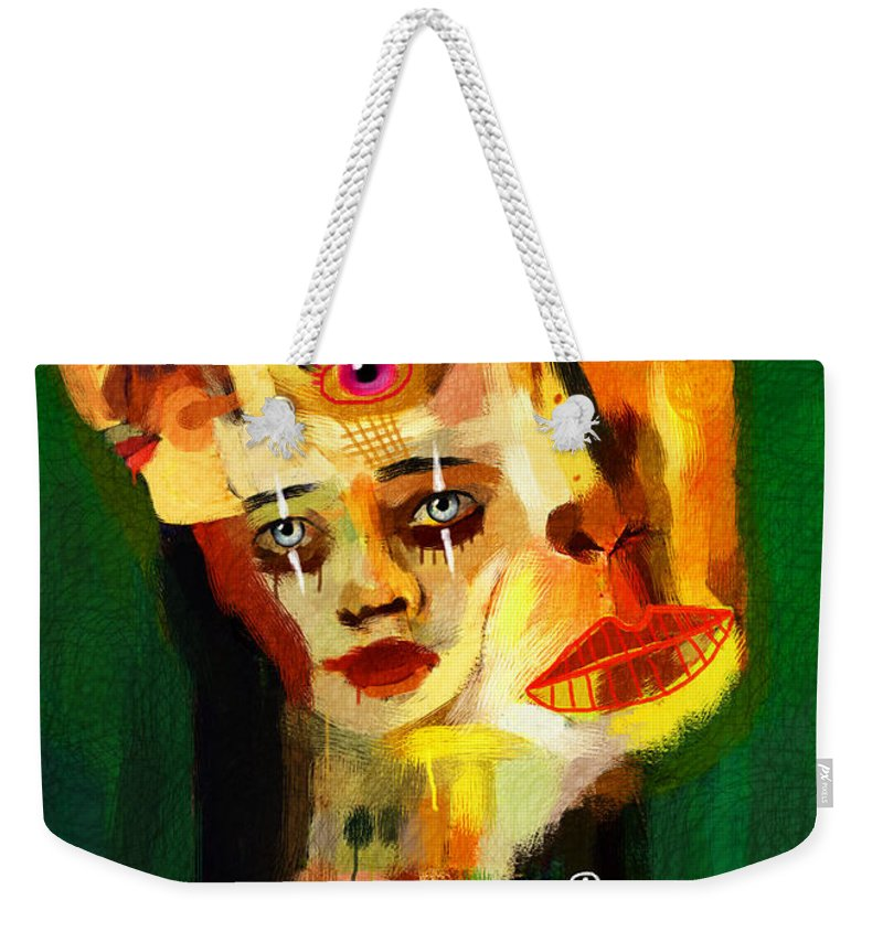 Woman Weekender Tote Bag featuring the painting Goddess With Many Faces 671 by Maciej Mackiewicz