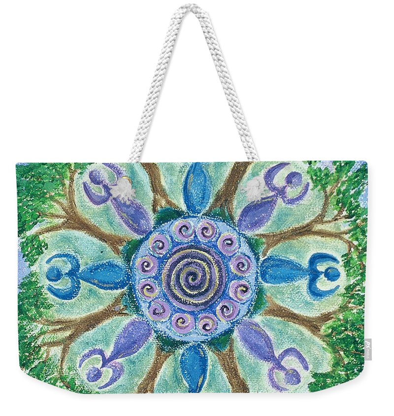 Goddess Weekender Tote Bag featuring the painting Goddesses Dancing by Charlotte Backman