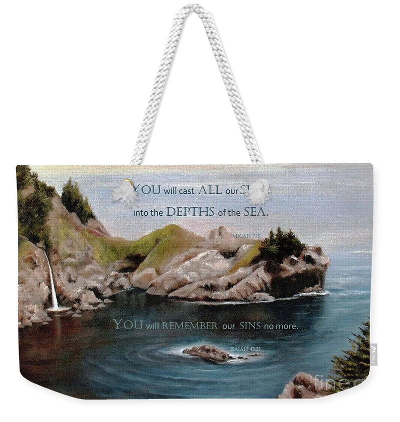 Mcway Falls Weekender Tote Bag featuring the painting God's Promises To Us by Hazel Holland