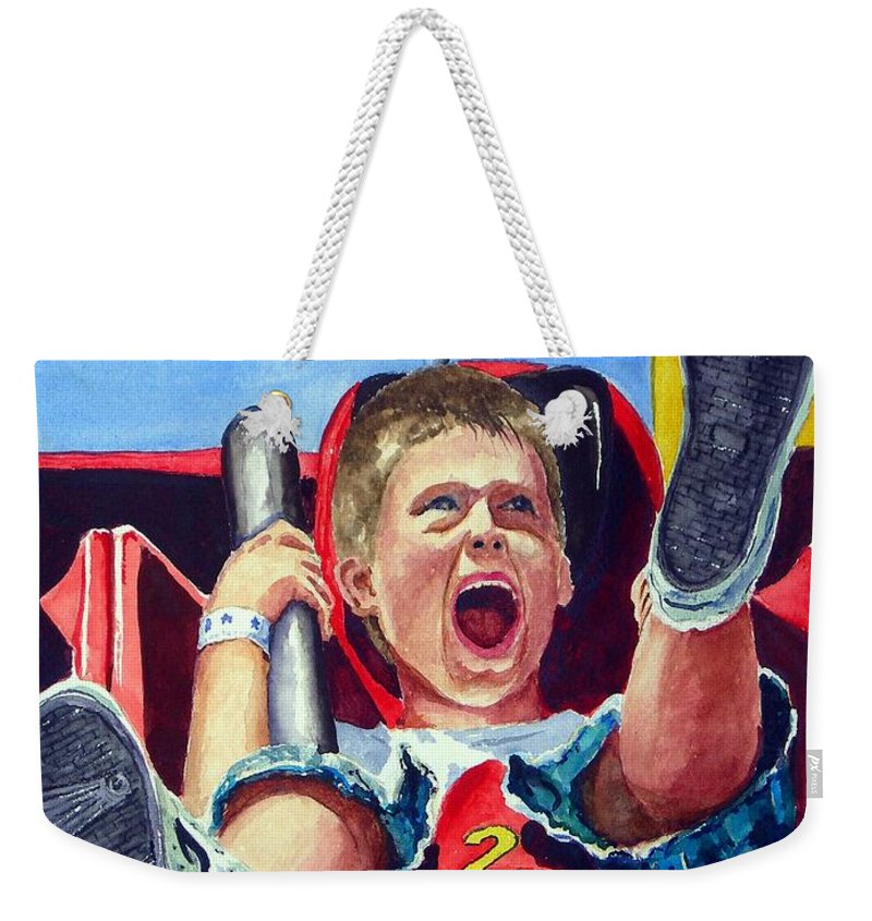 Boy Weekender Tote Bag featuring the painting Goin' Down by Sam Sidders