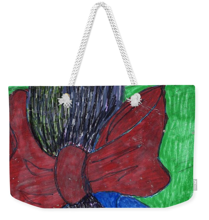 Girl With Large Bow In Back Of Hair. Weekender Tote Bag featuring the mixed media Going Home by Elinor Helen Rakowski