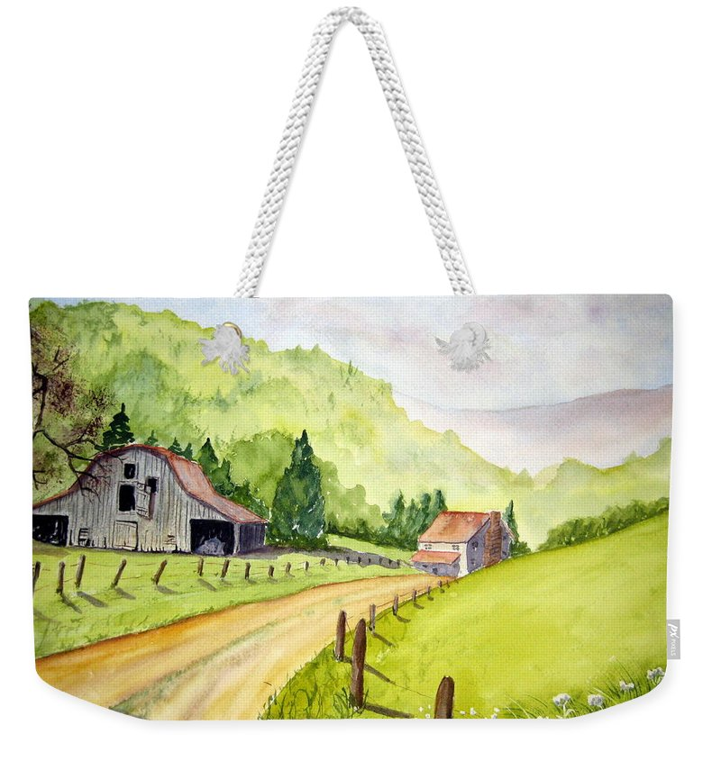 Barns Weekender Tote Bag featuring the painting Going Home by Julia RIETZ