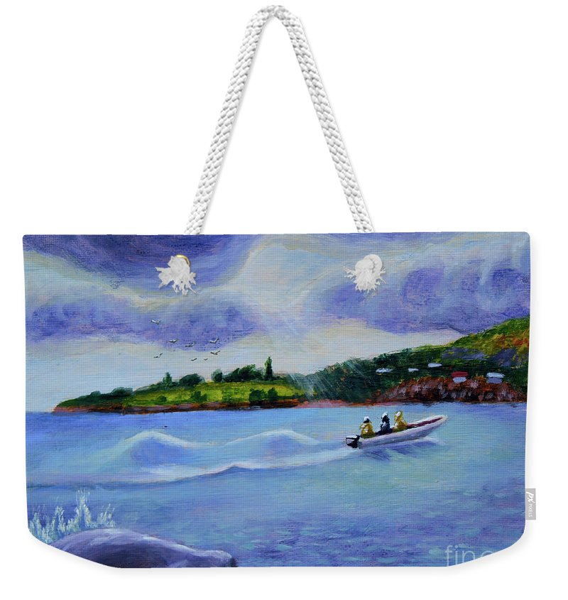 Ron Weekender Tote Bag featuring the painting Going Home by Ron Henry