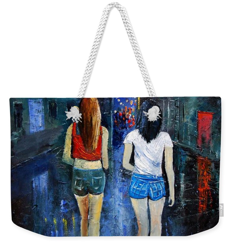 Girl Weekender Tote Bag featuring the painting Going Out Tonight by Pol Ledent