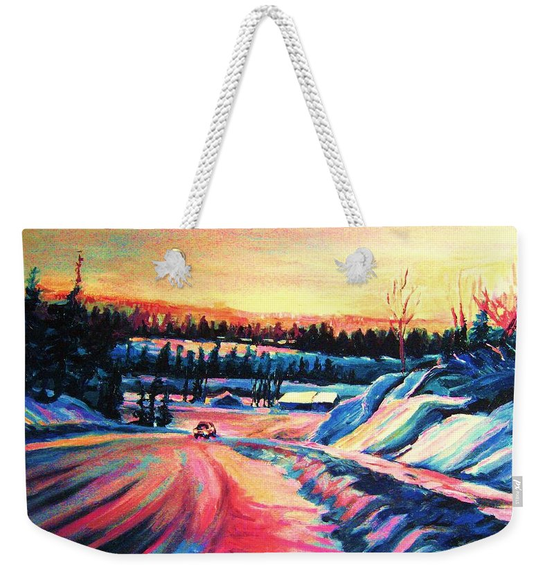 Winterscene Weekender Tote Bag featuring the painting Going Places by Carole Spandau