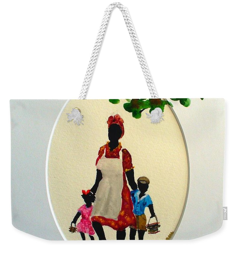 Caribbean Children Weekender Tote Bag featuring the painting Going To School by Karin Dawn Kelshall- Best