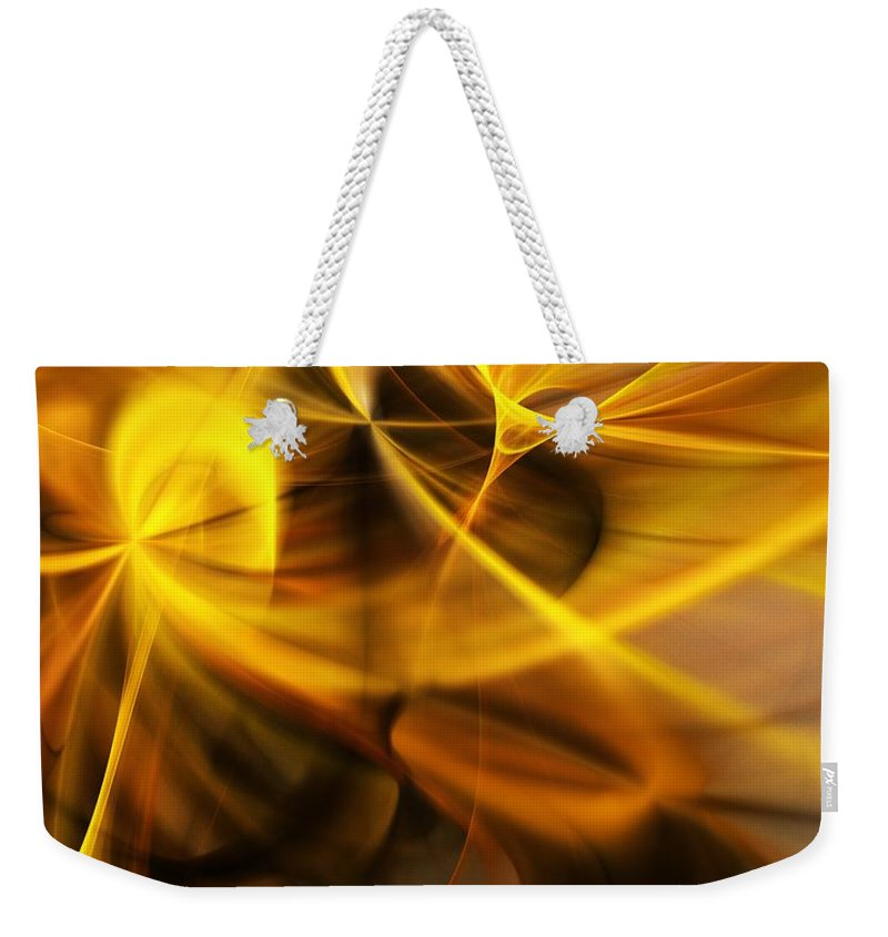 Fractal Weekender Tote Bag featuring the digital art Gold and Shadows by David Lane