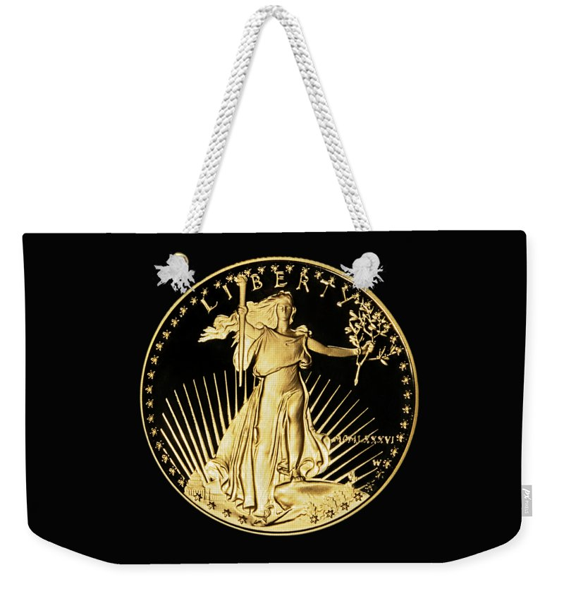 Coin Weekender Tote Bag featuring the photograph Gold Coin Front by Phyllis Denton