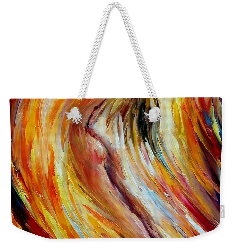 Nude Weekender Tote Bag featuring the painting Gold Falls by Leonid Afremov