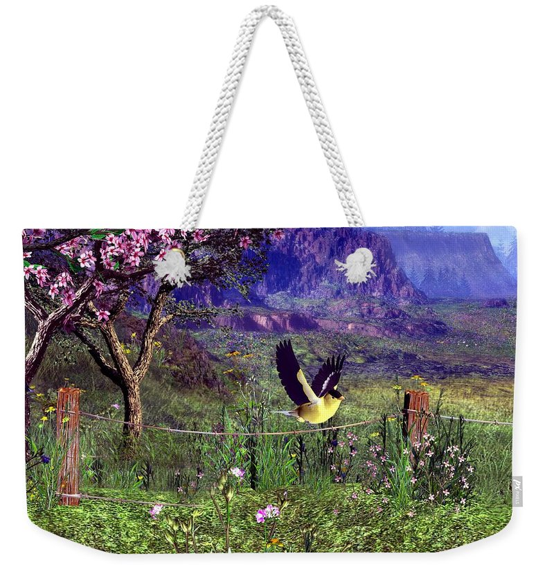 Birds Weekender Tote Bag featuring the digital art Gold Finch In The Spring Time by John Junek