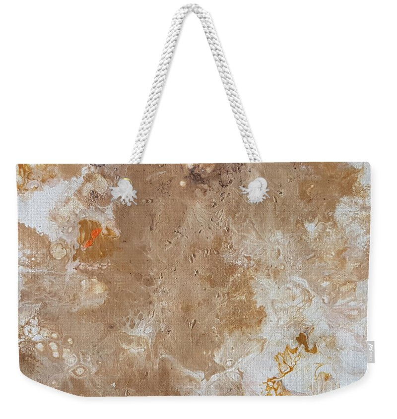 Acrylic Weekender Tote Bag featuring the painting Gold Finger by Britt Knoff