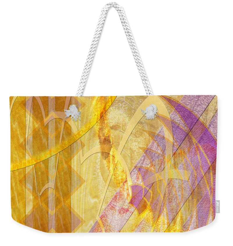 Gold Fusion Weekender Tote Bag featuring the digital art Gold Fusion by John Beck