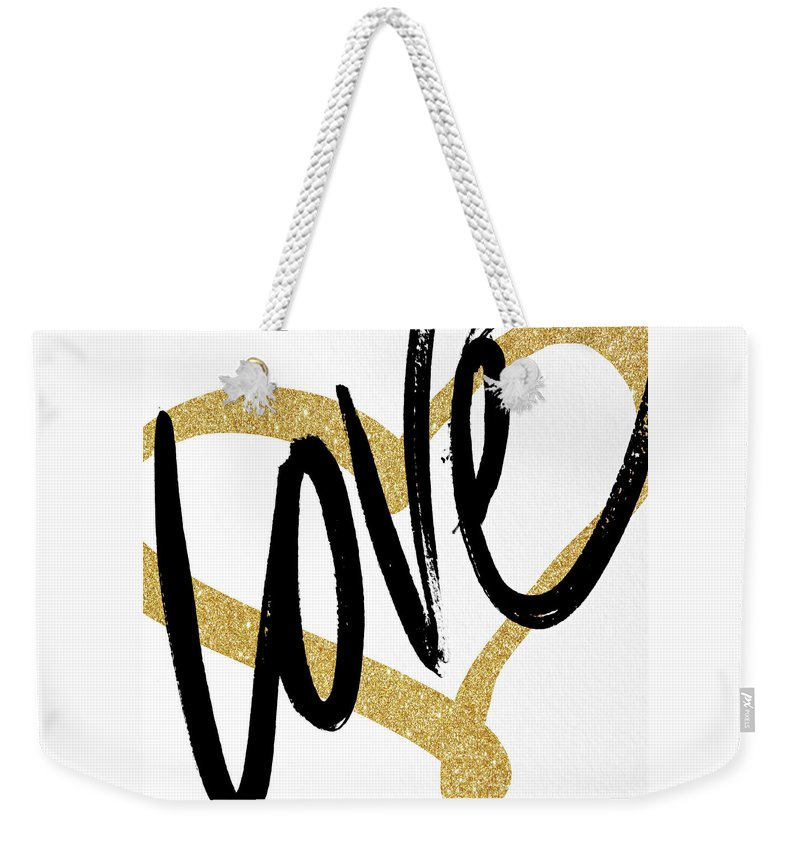 Gold Weekender Tote Bag featuring the painting Gold Heart Black Script Love by South Social Studio