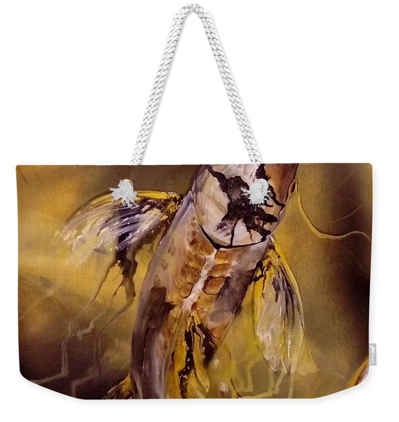 Koi Weekender Tote Bag featuring the painting Gold Koi by Karoly Grof