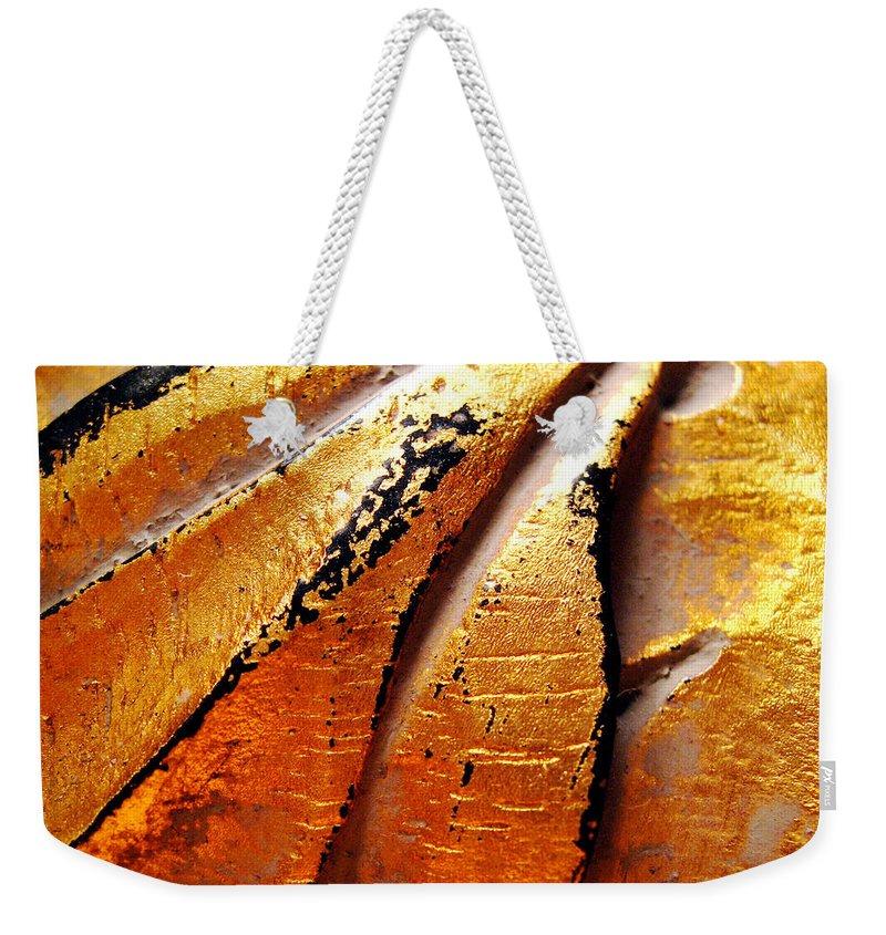 Gold Leaf Weekender Tote Bag featuring the photograph Gold Leaf by Julie Niemela