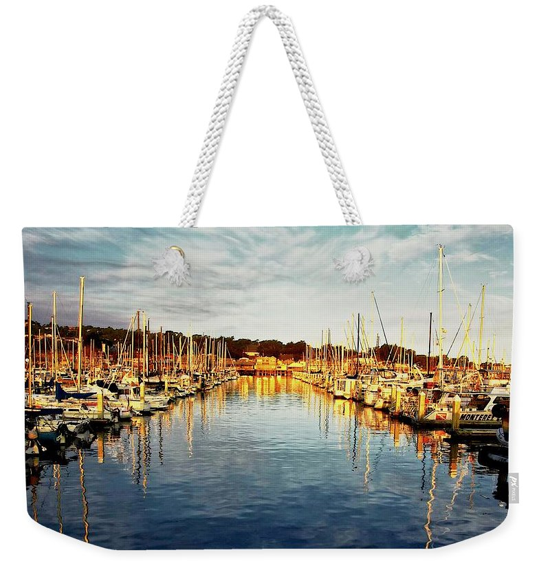 Sunrise Weekender Tote Bag featuring the photograph Gold Light, Monterey Marina by Zayne Diamond Photographic