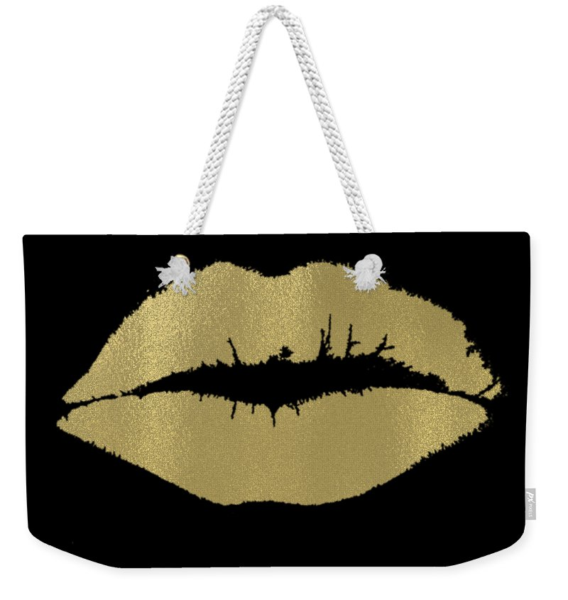 Gold Weekender Tote Bag featuring the digital art Gold Lips Kiss by P S