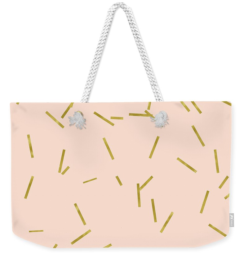 Pale Pink Weekender Tote Bag featuring the digital art Gold Matchstick Confetti Print On Angel Pink by Tina Lavoie