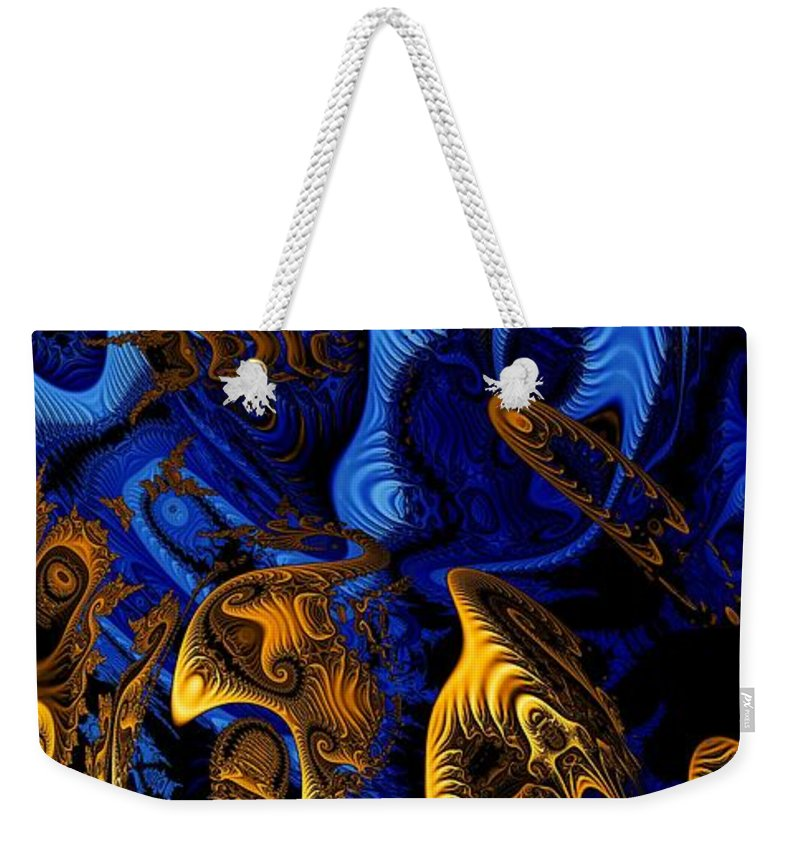 Fractal Art Weekender Tote Bag featuring the digital art Gold On Blue by Ron Bissett