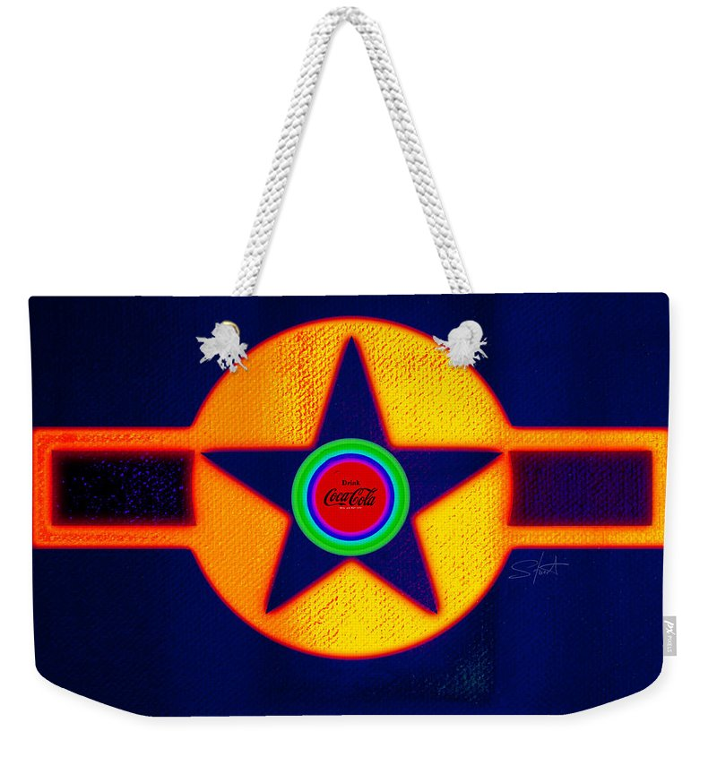 Usaaf Weekender Tote Bag featuring the painting Gold On Blue With Cola by Charles Stuart