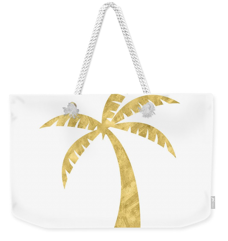 Palm Tree Weekender Tote Bag featuring the mixed media Gold Palm Tree- Art by Linda Woods by Linda Woods
