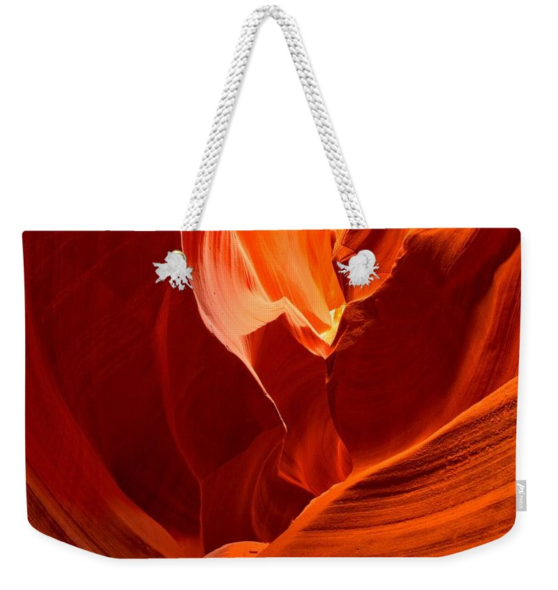Upper Antelop Weekender Tote Bag featuring the photograph Gold Red And Orange Abstract by Adam Jewell