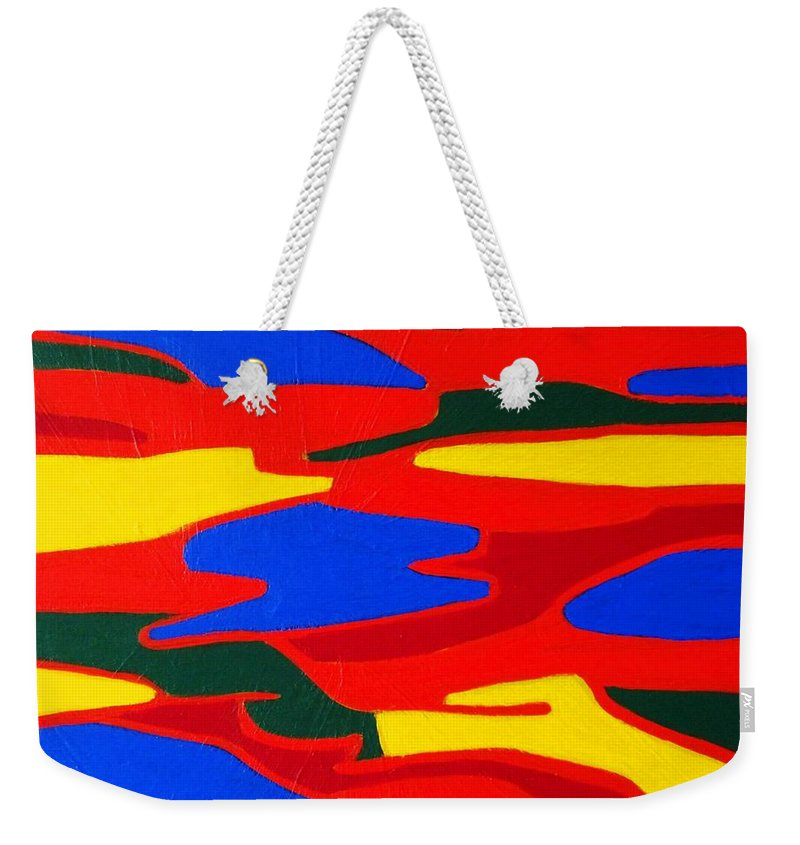 Eunice Broderick Weekender Tote Bag featuring the painting Gold River by Eunice Broderick