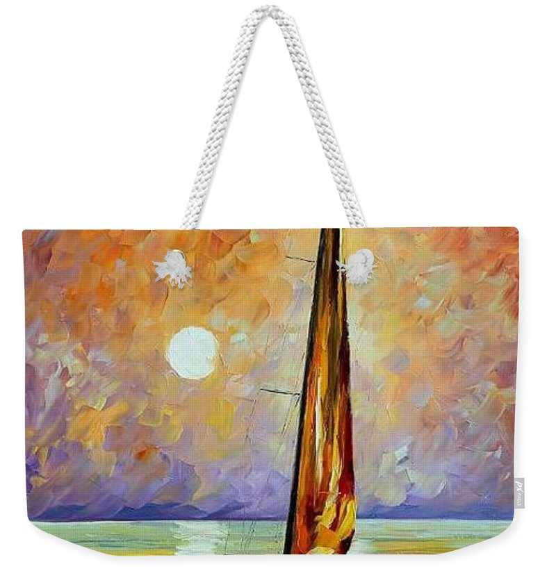 Afremov Weekender Tote Bag featuring the painting Gold Sail by Leonid Afremov