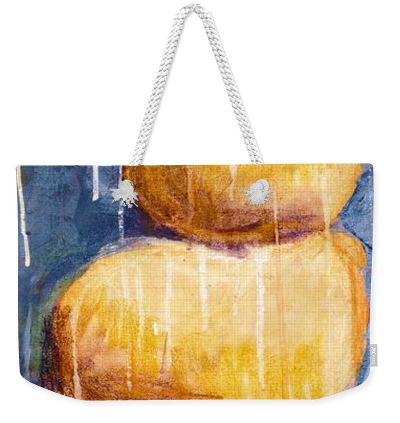 Weekender Tote Bag featuring the painting Gold Stones by Jane Clatworthy