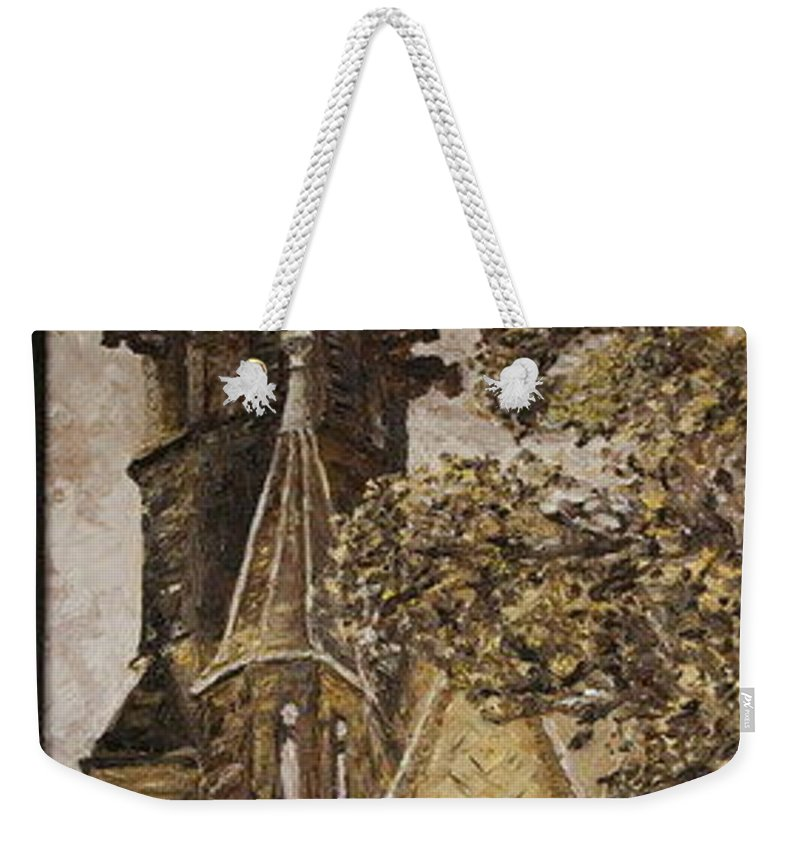 Weekender Tote Bag featuring the painting Gold Thun Castle by Pablo de Choros