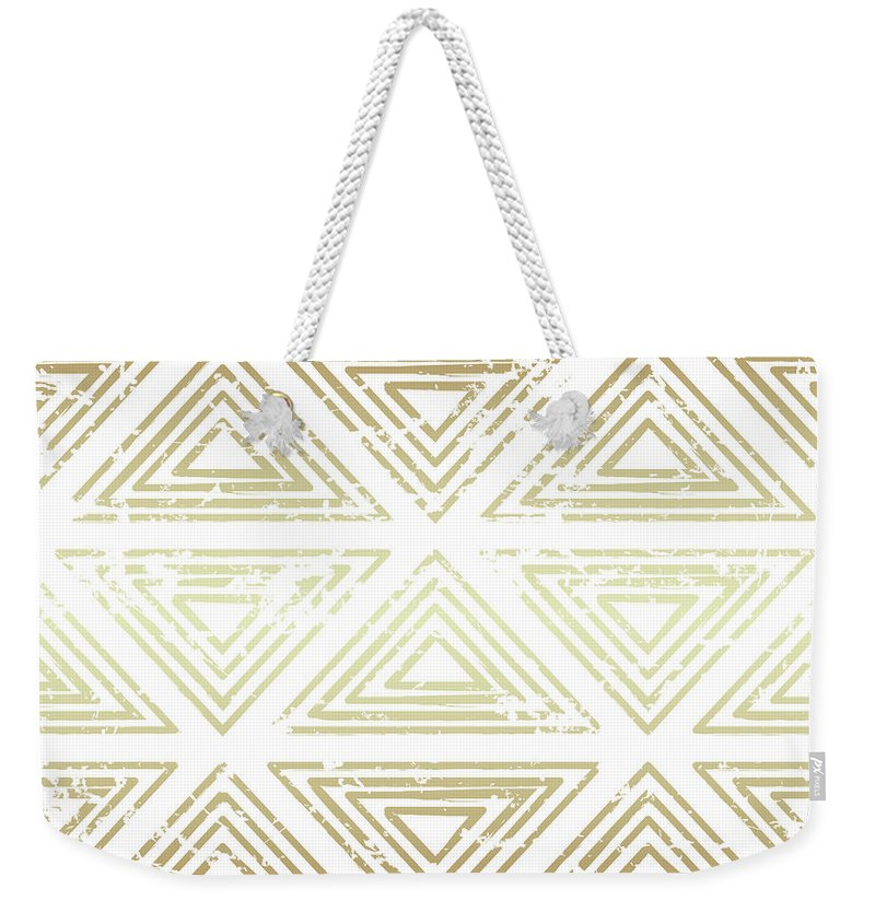 Gold Weekender Tote Bag featuring the digital art Gold Tribal by Susan Link