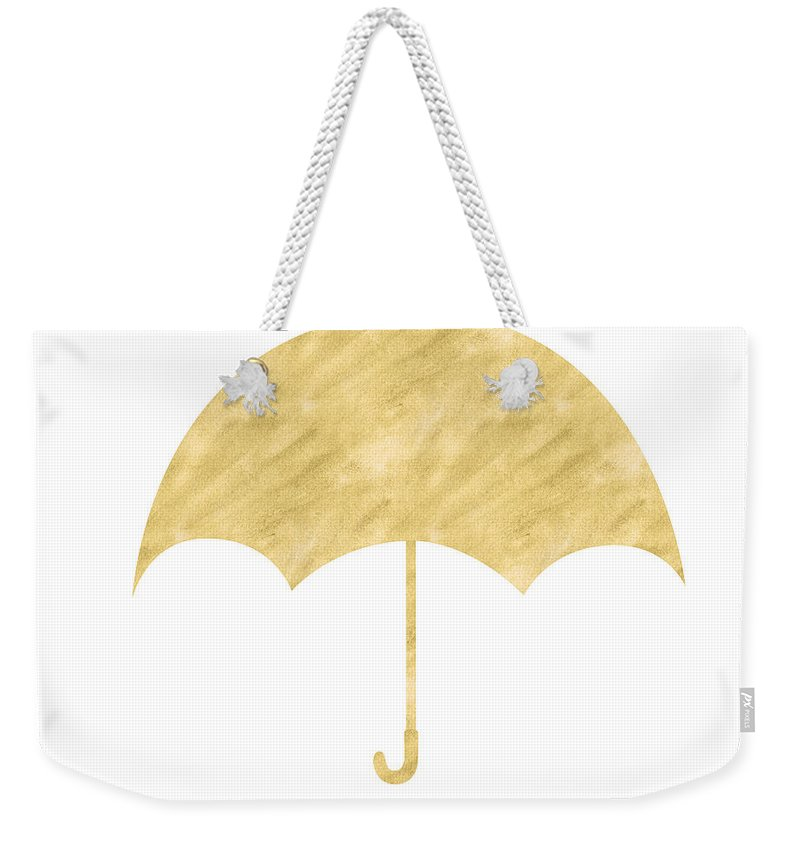 Umbrella Weekender Tote Bag featuring the mixed media Gold Umbrella- Art By Linda Woods by Linda Woods
