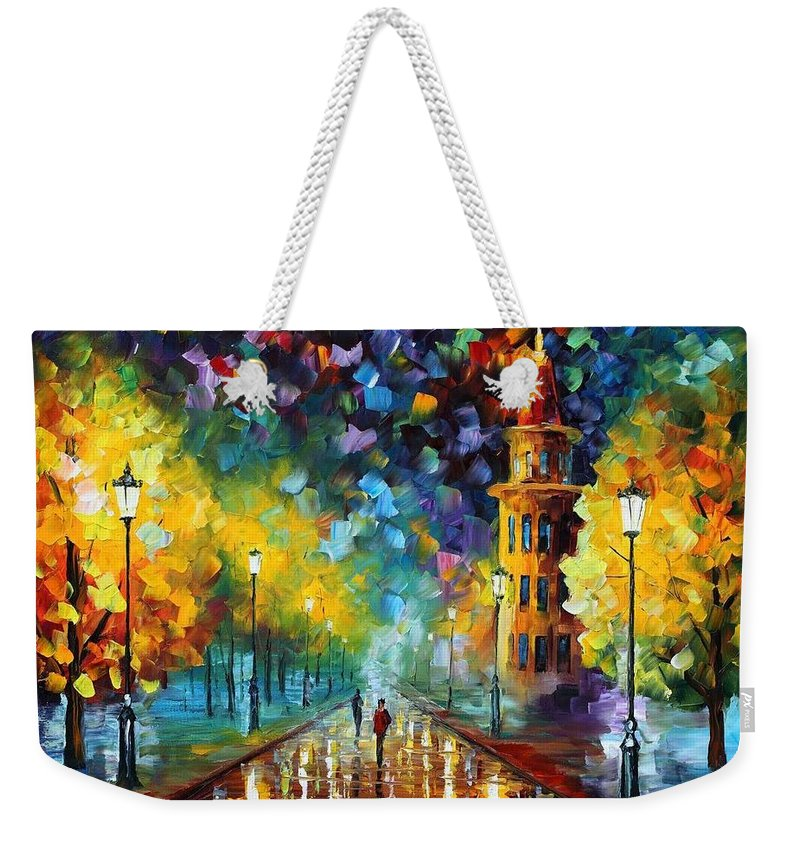 Afremov Weekender Tote Bag featuring the painting Gold Winter by Leonid Afremov