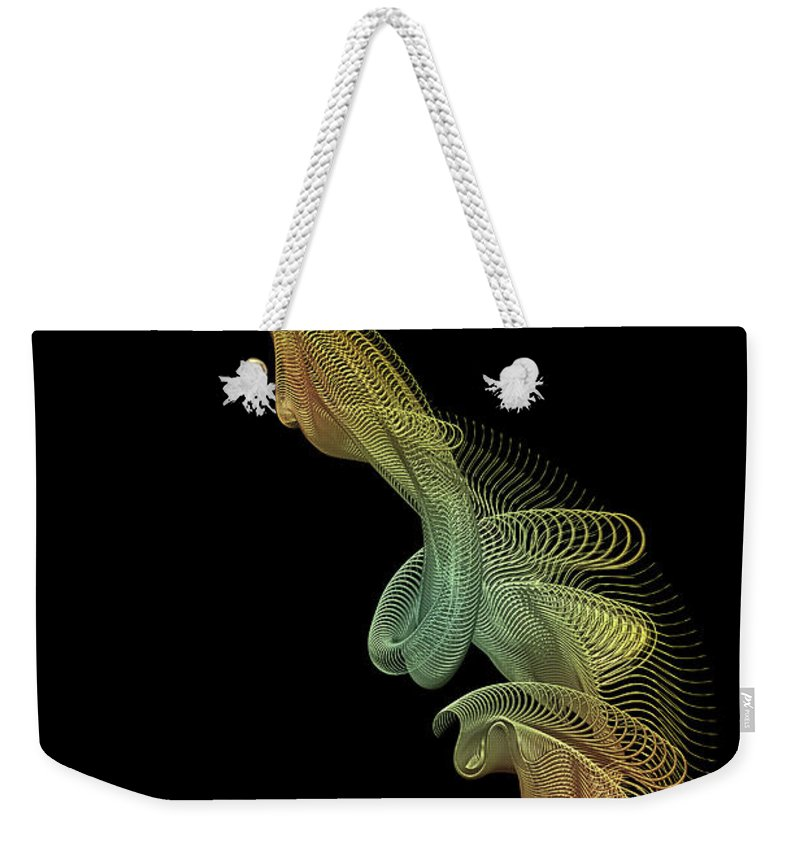 Gold Weekender Tote Bag featuring the digital art Gold Wire Abstract by Ann Garrett