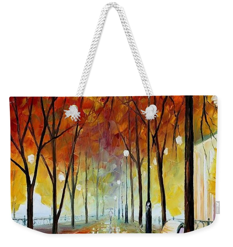 Afremov Weekender Tote Bag featuring the painting Golde Park by Leonid Afremov