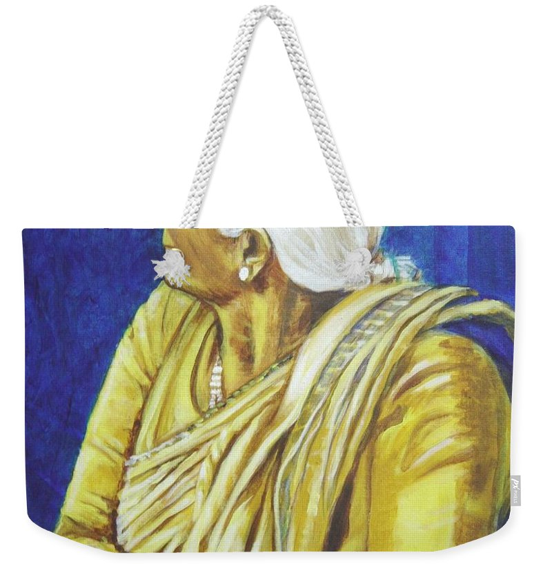 Usha Weekender Tote Bag featuring the painting Golden Age 1 by Usha Shantharam